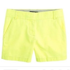 NEW J. Crew yellow cotton city fit shorts Size 4